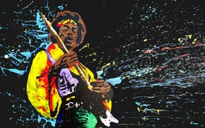 Обои singer, hendrix, jimi, jimi hendrix, guitarist, music, painting