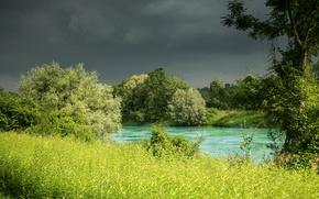 Картинка трава, деревья, природа, река, Германия, Бавария