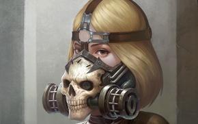 Картинка взгляд, девушка, фантастика, череп, арт, противогаз, sci-fi