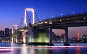 Картинка небо, ночь, мост, огни, здания, башня, дома, выдержка, Япония, освещение, Токио, фонари, залив, Tokyo, Japan, …