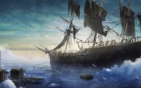 Картинка холод, лед, снег, лодка, корабль, парусник, арт, льды, метель, постройка