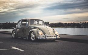 Картинка Volkswagen, Beetle, Road, Lough