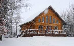 Картинка зима, небо, снег, деревья, дом
