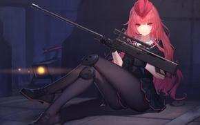 Обои девушка, оружие, аниме, арт, форма, военная, daye bie qia lian