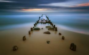 Картинка песок, море, закат, пирс, отмель, Krzysztof, Browko