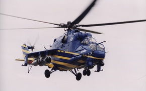 Картинка небо, синий, лопасти, helicopter, Вертолёт, ми 24