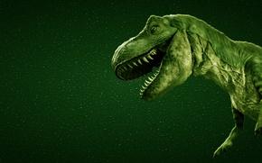 Картинка зеленый, динозавр, хищник, зубы, пасть