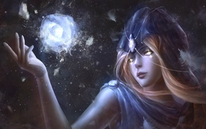 Обои лед, взгляд, девушка, фантастика, магия, камень, перья, арт, капюшон
