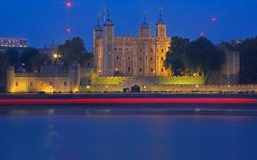 Картинка ночь, река, замок, Англия, Лондон