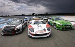 Обои небо, тучи, трасса, audi r8, Aston Martin DBR9, чемпионат gt3, Lamborghini Gallardo LP560-4, Paul Ricard, ...