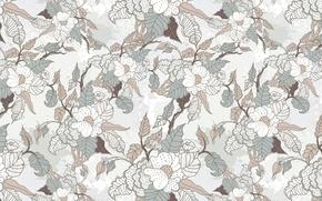 Картинка листья, цветы, фон, обои, ткань, текстуры, цветочный орнамент
