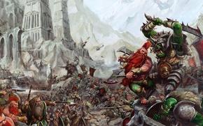 Картинка горы, замок, Warhammer, мечи, сеча, орки, топоры, дварфы, секиры, мушкеты, побоище, резня