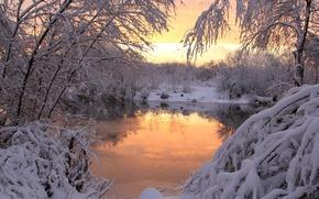 Картинка зима, снег, закат, природа