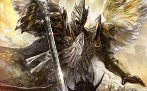 Картинка крылья, меч, доспехи, Ангел, удар, битва