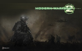 Картинка бойцы, вертолёты, Call of duty, Modern warfare 2, Infinity War