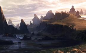 Картинка трава, вода, горы, скалы, арт