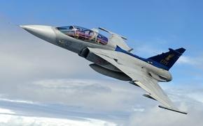Картинка небо, истребитель, многоцелевой, Gripen, JAS 39