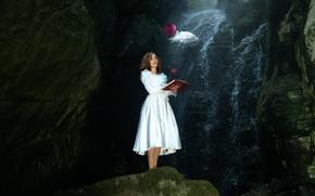 Картинка девушка, воздушный шар, облако, арт, книга, Lichon