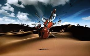 Обои клавиши, пустыня, барабан, скрипка, Музыкальные инструменты