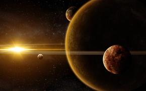 Картинка космос, звезда, планеты, кольца, арт, гигант