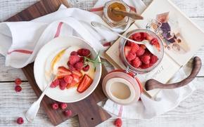Картинка еда, Завтрак с ягодами, медом и творогом