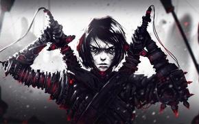 Картинка лицо, меч, воин, арт, костюм, парень, мечник