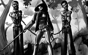 Картинка арт, зомби, ходячие мертвецы, walking dead, Мишонн