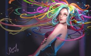 Картинка взгляд, цвета, девушка, краски, волосы, аниме, арт
