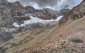 Картинка снег, горы, камни, скалы