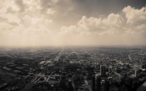 Обои города, здания, небо