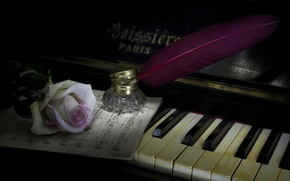 Картинка стиль, музыка, перо, роза, пианино