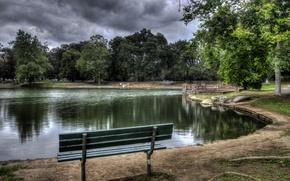 Картинка деревья, скамейка, тучи, пруд, парк, камни, пасмурно, Калифорния, США, Irvine Regional Park