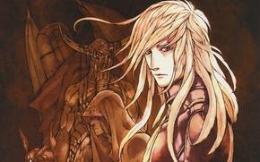 Картинка монстры, капюшон, рога, Art, блондин, Toma, Eiji Kaneda, Aquarion, Otoha, длинные белые волосы