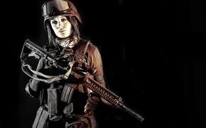 Картинка девушка, очки, винтовка, экипировка, каска, штурмовая