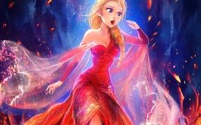 Картинка огонь, платье, Frozen, королева, disney, Snow Queen, elsa