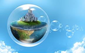 Обои небо, вода, облака, город, креатив, половина, планета, пузырь