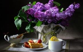Обои цветы, темный фон, салфетка, лимон, чашка, сахар, вафли, натюрморт, сирень, бабочки, завтрак, клубника