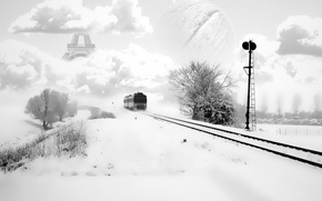 Картинка зима, рельсы, обработка, Поезд