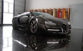 Картинка черный, тюнинг, veyron, bugatti, шикарное авто