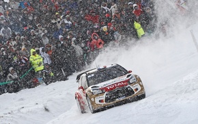 Картинка Снегопад, Машина, DS3, Авто, Гонка, Люди, WRC, Зима, Rally, Спорт, Citroen, Снег, Ралли