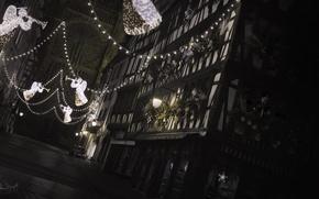 Картинка ночь, улица, ангелы, christmas, France, Strasbourg