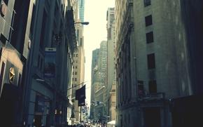 Картинка город, люди, улица, здания, Нью-Йорк, небоскребы, City, мегаполис, New York