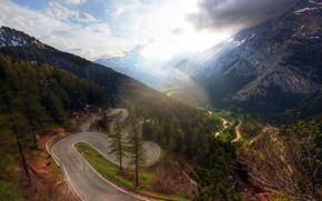 Картинка road, mountains, way, down, long