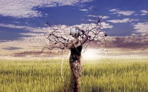Картинка девушка, ветки, природа, арт, кувшин, Mother Earth