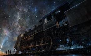 Обои ночь, iy tujiki, арт, поезд, люди, звездное небо