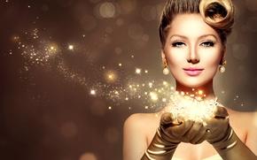 Картинка девушка, украшения, лицо, стиль, модель, золотой, Анна Субботина