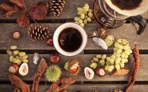 Картинка осень, листья, стиль, кофе, виноград, кружка, натюрморт, шишки, каштаны, кофейник