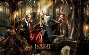 Картинка Леголас, Хоббит: Пустошь Смауга, The Hobbit: The Desolation of Smaug, Тауриэль, Трандуил