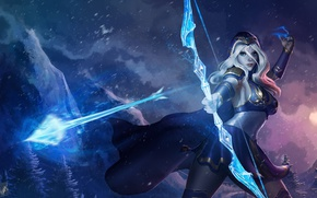 Картинка девушка, магия, лук, арт, стрела, лучник, League of Legends, ashe, frost archer