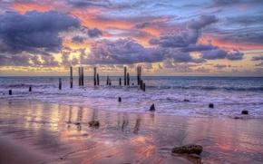 Обои море, небо, солнце, пейзаж, закат, природа, океан, рассвет, beach, sky, ocean, landscape, nature, sunset, beautiful, ...
